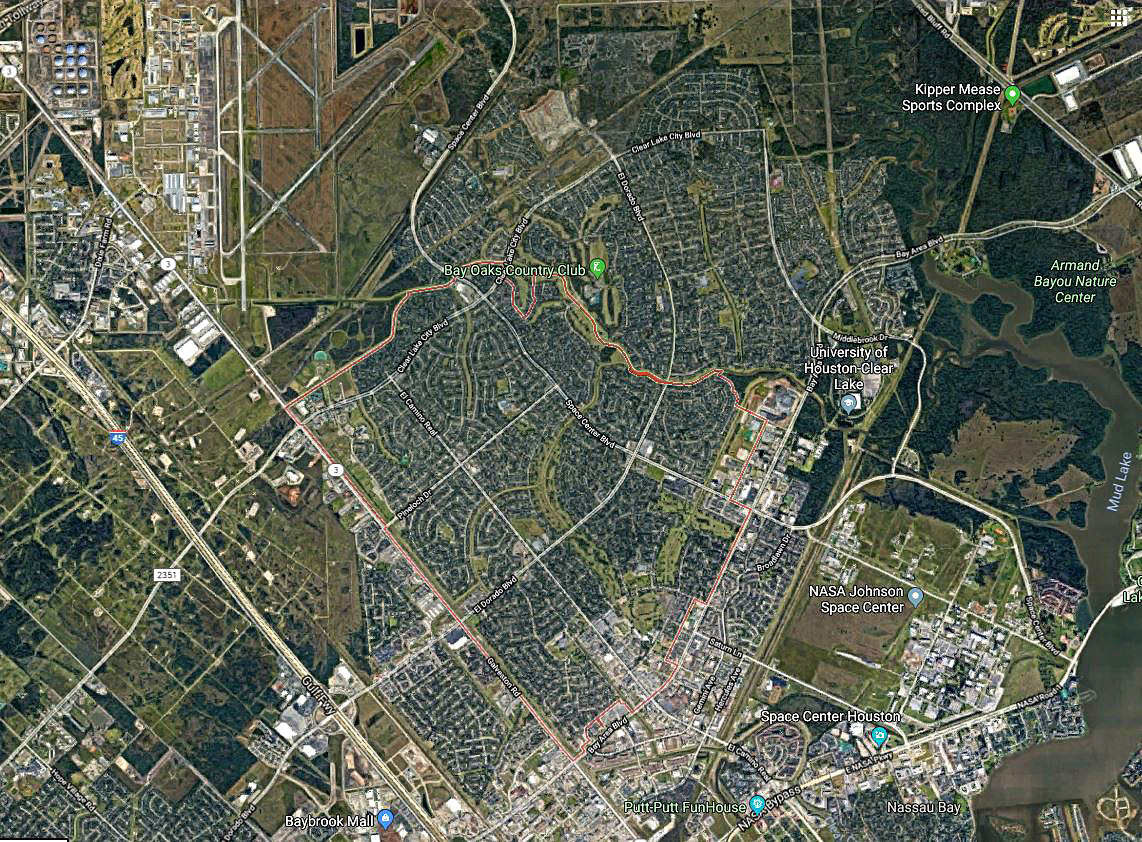 Google arial view of Clear Lake City
